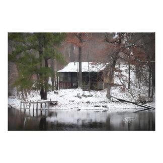 La cabina rústica nevada en Tennessee enmarcó arte Fotografía