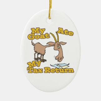 la cabra comió mi dibujo animado de la declaración adorno navideño ovalado de cerámica