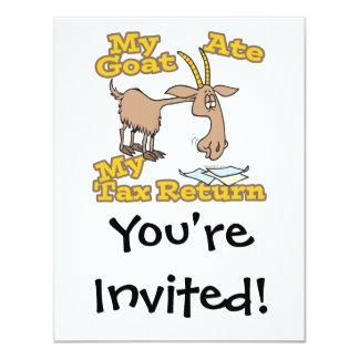 la cabra comió mi dibujo animado de la declaración invitación 10,8 x 13,9 cm