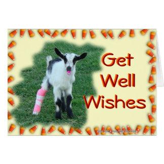 La cabra del niño consigue bien--modifique tarjeta de felicitación