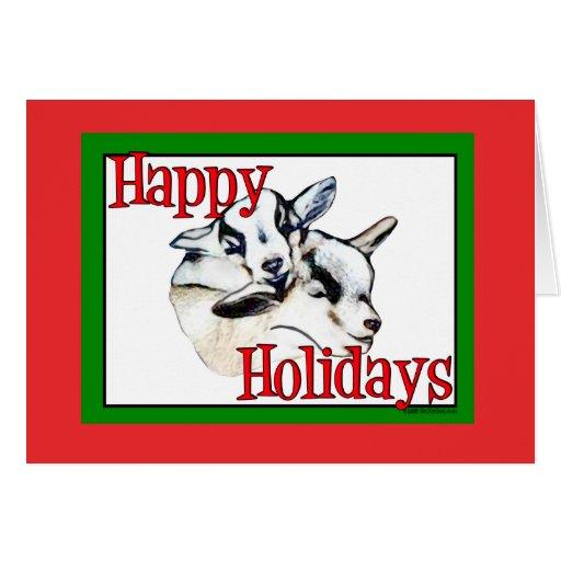 La cabra enana embroma navidad del día de fiesta tarjeta