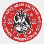 La cabra satánica dirigió Baphomet Pegatina Redonda