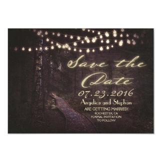 la cadena de árboles rústicos de las luces ahorra invitación 11,4 x 15,8 cm