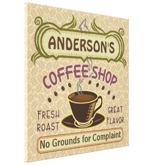 La cafetería con la taza crea sus los propios impresión en lona