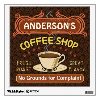 La cafetería con la taza crea sus los propios vinilo adhesivo