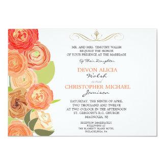 La caída abstracta del ranúnculo florece el boda invitación 11,4 x 15,8 cm