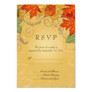 La caída anaranjada del oro del vintage deja casar invitación 8,9 x 12,7 cm