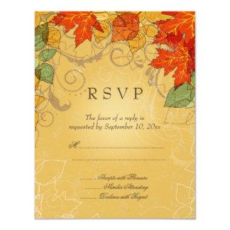 La caída anaranjada del oro del vintage deja casar invitación 10,8 x 13,9 cm
