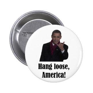 La caída de Barack Obama suelta, muestra de Améric Pin Redondo De 2 Pulgadas