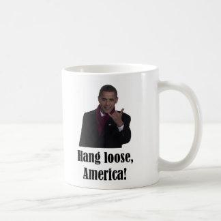 La caída de Barack Obama suelta, muestra de Améric Taza Básica Blanca