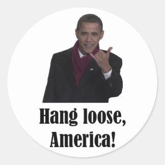 La caída de Barack Obama suelta, muestra de Pegatina Redonda