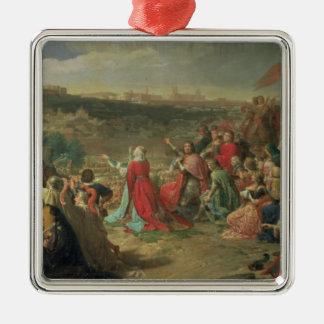 La caída de Granada en 1492, 1890 Adorno Navideño Cuadrado De Metal