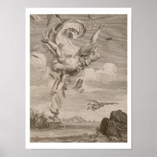 La caída de Ícaro, 1731 (grabado) Póster