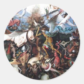 La caída de los ángeles rebeldes de Pieter Bruegel Pegatina Redonda