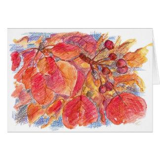 La caída de los saludos del otoño deja la acuarela tarjeta de felicitación