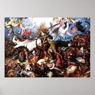 "La caída de Pieter Bruegel ""de los ángeles rebelde Póster"