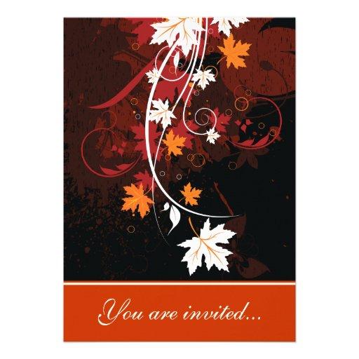 La caída deja a rojo anaranjado el boda marrón bla anuncios personalizados