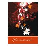 La caída deja a rojo anaranjado el boda marrón invitación 12,7 x 17,8 cm