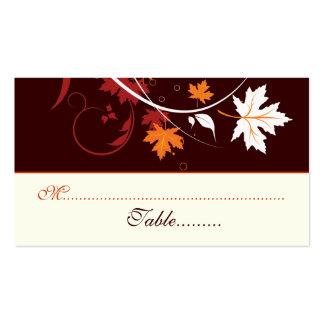 La caída deja a rojo anaranjado la tarjeta blanca tarjetas de visita