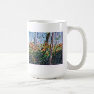 La caída deja arte de la acuarela de la pintura de tazas de café