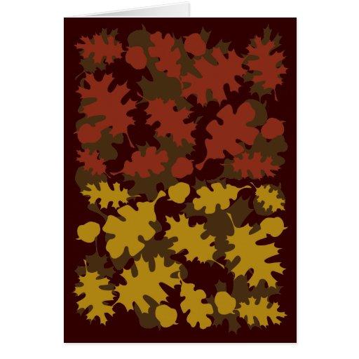 La caída deja diseño de los colores de la silueta tarjeta de felicitación