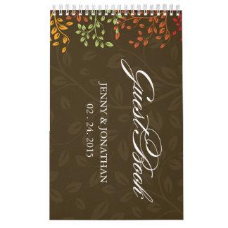 La caída deja el Guestbook del boda - personalizad Calendarios De Pared