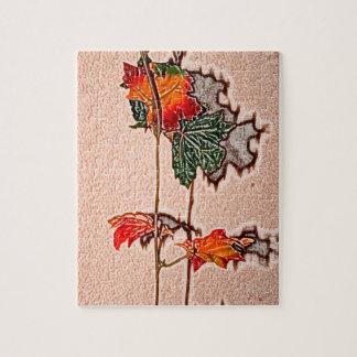 la caída deja el naranja de la hoja del otoño de rompecabezas