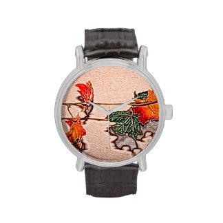 la caída deja el naranja de la hoja del otoño de relojes de pulsera