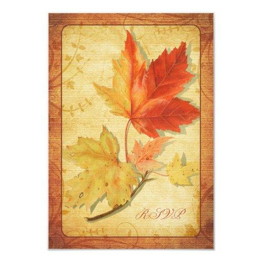 La caída deja la tarjeta de contestación del boda invitación 8,9 x 12,7 cm