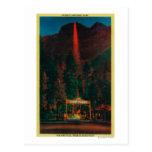 La caída del fuego del punto del glaciar tarjetas postales