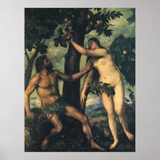 La caída del hombre; Adán y Eva por Titian Póster