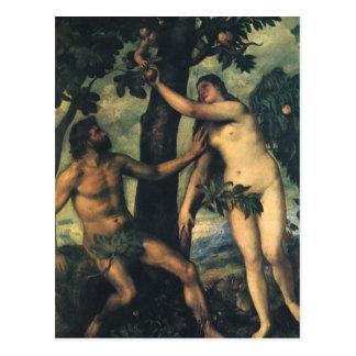 La caída del hombre; Adán y Eva por Titian Postal