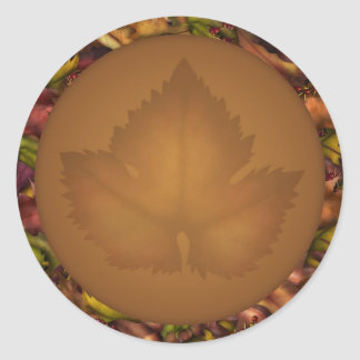 La caída del otoño deja a los pegatinas de los pegatina redonda