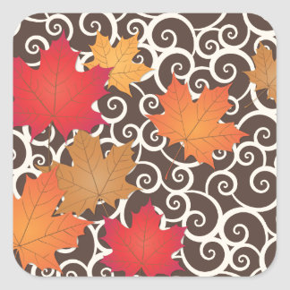La caída del otoño deja a tema los pegatinas pegatina cuadradas