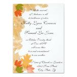 La caída del otoño deja el boda invitación 13,9 x 19,0 cm
