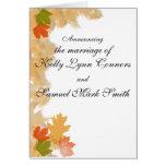 La caída del otoño deja el boda tarjeta de felicitación