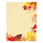 La caída del otoño deja el papel con membrete membrete personalizado