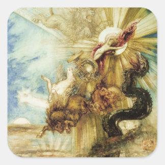 La caída del Phaethon (w/c en el papel) Pegatina Cuadrada