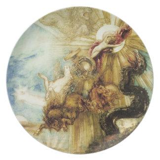 La caída del Phaethon (w/c en el papel) Platos