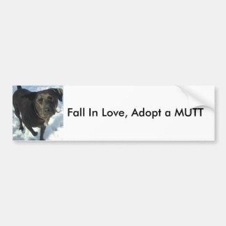 La caída en amor, adopta un MUTT Pegatina Para Auto