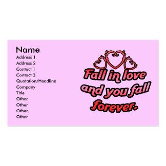 La caída en amor y usted bajan para siempre tarjetas de visita