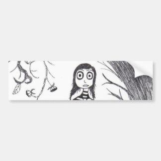 La caída espeluznante etiqueta de parachoque