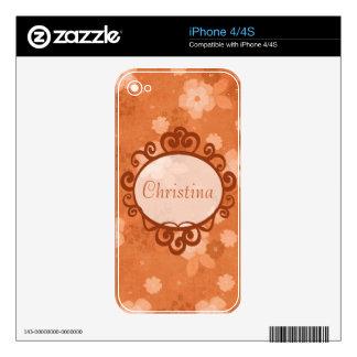 La caída florece la piel de IPhone Calcomanías Para iPhone 4
