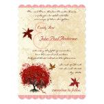 La caída roja del árbol del corazón deja la invitación 12,7 x 17,8 cm