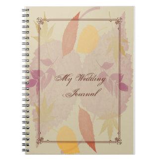 La caída rústica deja el diario del boda notebook