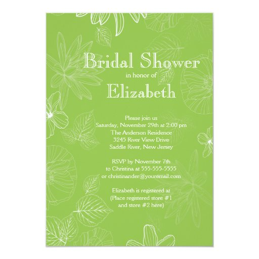 """La caída verde moderna deja a flores la ducha invitación 5"""" x 7"""""""
