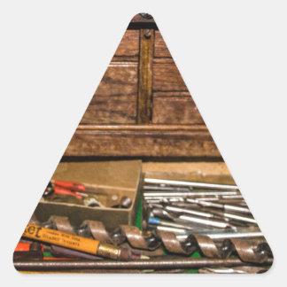 La caja de herramientas del abuelo calcomanías de triangulos personalizadas