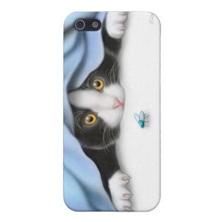 La caja de la mota del gato del gatito del iPhone 5 funda
