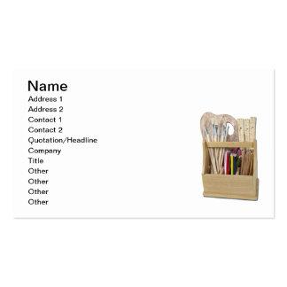 La caja del arte cepilla los lápices tarjetas de visita