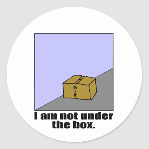 La caja pegatina redonda